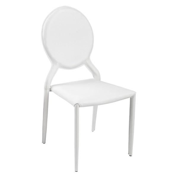 Cadeira Amanda Medalhão Revestida em Couro Ecológico - Cor Branco