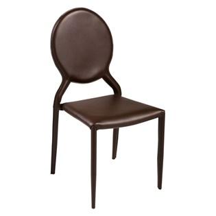 Cadeira Amanda Medalhão Revestida em Couro Ecológico - Cor Marrom