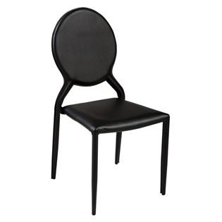 Cadeira Amanda Medalhão Revestida em Couro Ecológico - Cor Preta