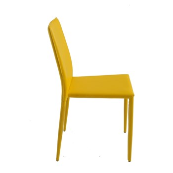 Cadeira Amanda Revestida em Couro Ecológico - Cor Amarela