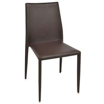 Cadeira Amanda Revestida em Couro Ecológico - Cor Marrom