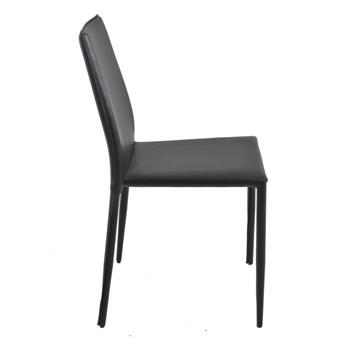 Cadeira Amanda Revestida em Couro Ecológico - Cor Preta
