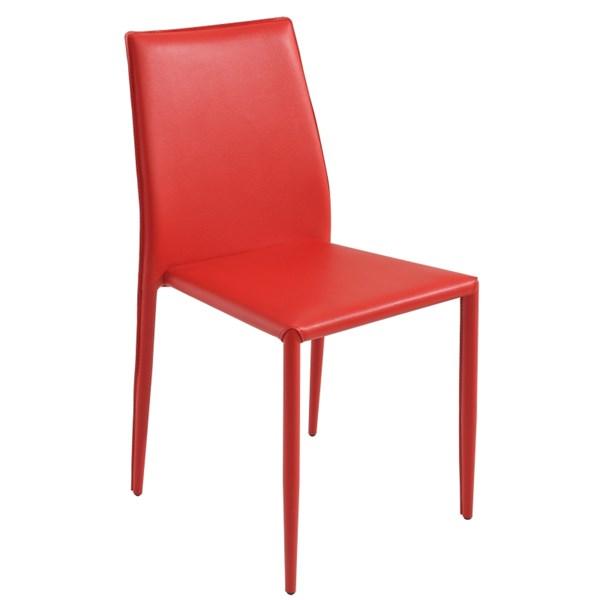 Cadeira Amanda Revestida em Couro Ecológico - Cor Vermelha