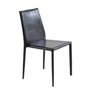 Cadeira Amanda Revestida em Couro Ecológico Textura Crocco - Cor Preta