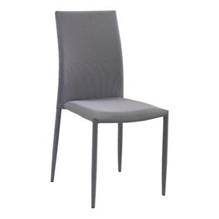 Cadeira Amanda Revestida em Tecido - Cor Branco com Preto