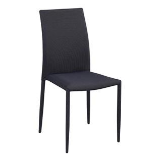 Cadeira Amanda Revestida em Tecido - Cor Cinza com Preto