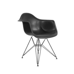 Cadeira Charles Eames Eiffel Com Braços - Base em Aço Preto - Assento em Polipropileno Cor Preta