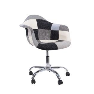 Cadeira Charles Eames Eiffel Com Braços - Base Giratoria - Assento Patchwork B&w 1