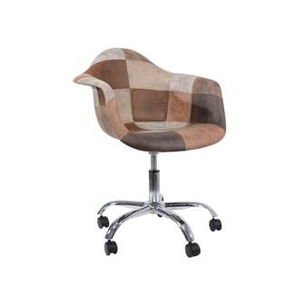 Cadeira Charles Eames Eiffel Com Braços - Base Giratoria - Assento Patchwork Caramelo