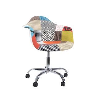 Cadeira Charles Eames Eiffel Com Braços - Base Giratoria - Assento Patchwork Principal