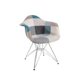 Cadeira Charles Eames Eiffel Com Braços - Base Metal Cromada - Assento Patchwork Azul E Cinza