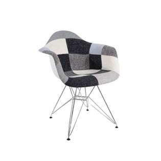 Cadeira Charles Eames Eiffel Com Braços - Base Metal Cromada - Assento Patchwork B&w 1