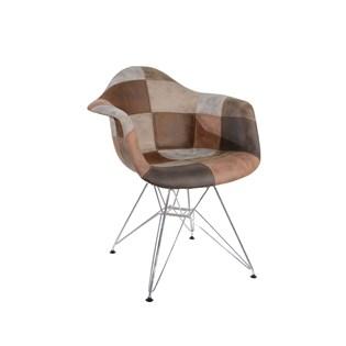 Cadeira Charles Eames Eiffel Com Braços - Base Metal Cromada - Assento Patchwork Caramelo