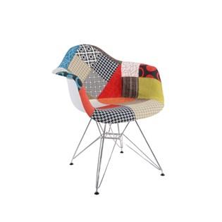 Cadeira Charles Eames Eiffel Com Braços - Base Metal Cromada - Assento Patchwork Losango