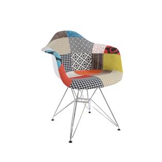 Cadeira Charles Eames Eiffel Com Braços - Base Metal Cromada - Assento Patchwork Principal