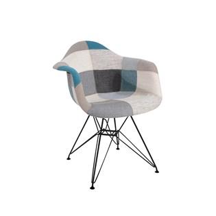 Cadeira Charles Eames Eiffel Com Braços - Base Metal Preta - Assento Patchwork Azul E Cinza