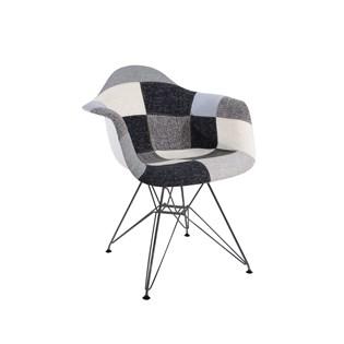 Cadeira Charles Eames Eiffel Com Braços - Base Metal Preta - Assento Patchwork Cor B&w 1
