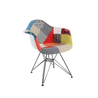 Cadeira Charles Eames Eiffel Com Braços - Base Metal Preta - Assento Patchwork Losango