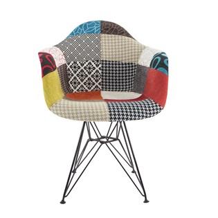 Cadeira Charles Eames Eiffel Com Braços - Base Metal Preta - Assento Patchwork Principal
