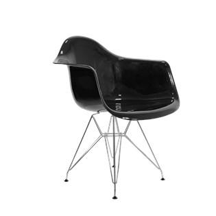 Cadeira Charles Eames Eiffel Com Braços e Base em Aço Cromado - Assento em Policarbonato Cor Preto