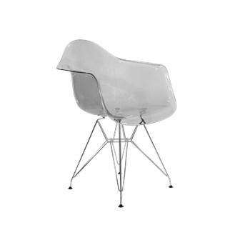 Cadeira Charles Eames Eiffel Com Braços e Base em Aço Preto - Assento em Policarbonato Cor Fume