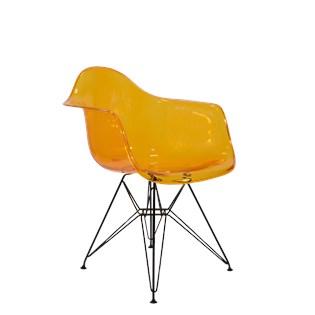 Cadeira Charles Eames Eiffel Com Braços e Base em Aço Preto - Assento em Policarbonato Cor Laranja