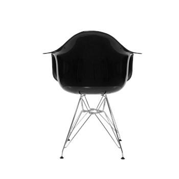 Cadeira Charles Eames Eiffel Com Braços e Base em Aço Preto - Assento em Policarbonato Cor Preto