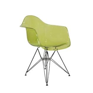 Cadeira Charles Eames Eiffel Com Braços e Base em Aço Preto - Assento em Policarbonato Cor Verde Translúcida