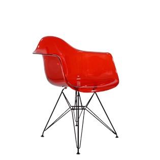 Cadeira Charles Eames Eiffel Com Braços e Base em Aço Preto - Assento em Policarbonato Cor Vermelha