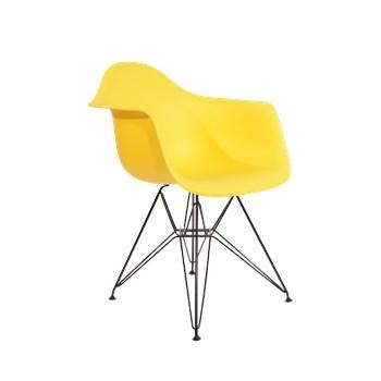 Cadeira Charles Eames Eiffel Com Braços e Base em Aço Preto - Assento em Polipropileno Cor Amarela