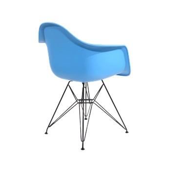 Cadeira Charles Eames Eiffel Com Braços e Base em Aço Preto - Assento em Polipropileno Cor Azul Médio