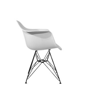 Cadeira Charles Eames Eiffel Com Braços e Base em Aço Preto - Assento em Policarbonato Cor Branca
