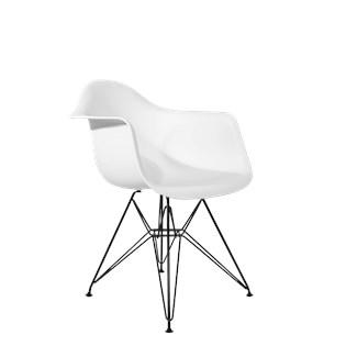 Cadeira Charles Eames Eiffel Com Braços e Base em Aço Preto - Assento em Polipropileno Cor Branca