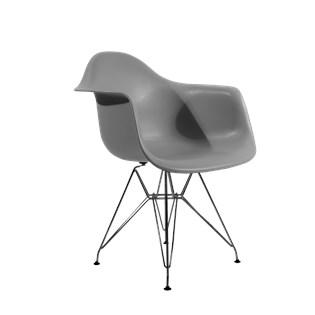 Cadeira Charles Eames Eiffel Com Braços e Base em Aço Preto - Assento em Polipropileno Cor Cinza