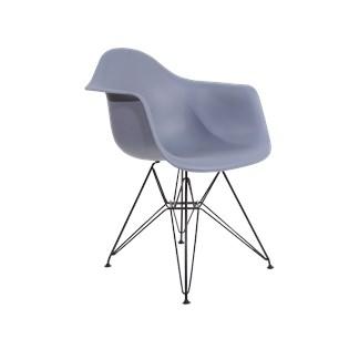 Cadeira Charles Eames Eiffel Com Braços e Base em Aço Preto - Assento em Polipropileno Cor Cinza Escuro