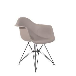 Cadeira Charles Eames Eiffel Com Braços e Base em Aço Preto - Assento em Polipropileno Cor Cinza Quente