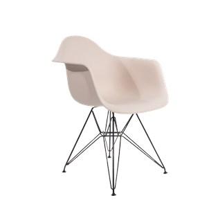 Cadeira Charles Eames Eiffel Com Braços e Base em Aço Preto - Assento em Polipropileno Cor Creme