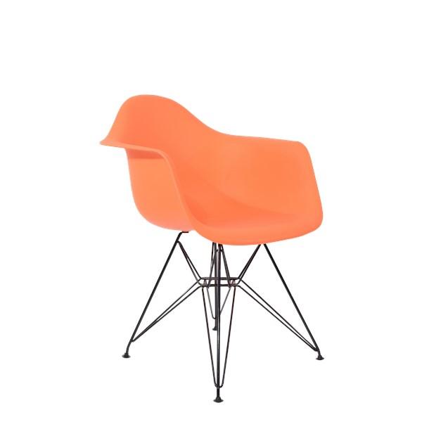Cadeira Charles Eames Eiffel Com Braços e Base em Aço Preto - Assento em Polipropileno Cor Laranja