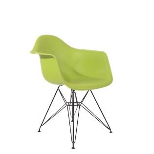 Cadeira Charles Eames Eiffel Com Braços e Base em Aço Preto - Assento em Polipropileno Cor Verde