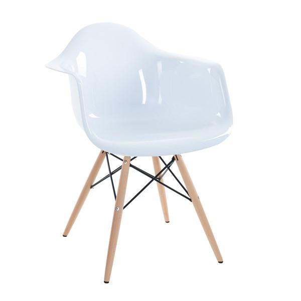 Cadeira Charles Eames Eiffel Com Braços e Base em Madeira - Assento em Policarbonato - Cor Branca com Brilho
