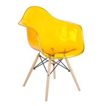 Cadeira Charles Eames Eiffel Com Braços e Base em Madeira - Assento em Policarbonato - Cor Laranja