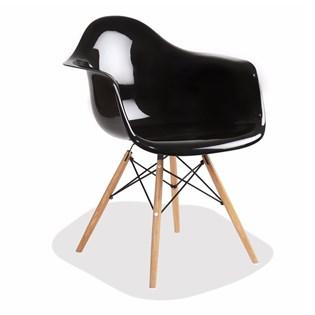 Cadeira Charles Eames Eiffel Com Braços e Base em Madeira - Assento em Policarbonato - Cor Preta com Brilho