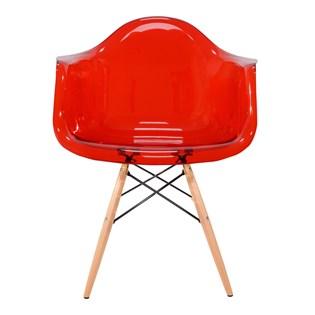 Cadeira Charles Eames Eiffel Com Braços e Base em Madeira - Assento em Policarbonato - Cor Vermelha