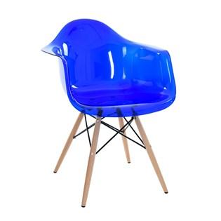 Cadeira Charles Eames Eiffel Com Braços e Base em Madeira - Assento em Policarbonato Transparente Azul