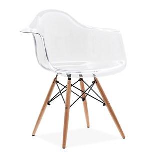 Cadeira Charles Eames Eiffel Com Braços e Base em Madeira - Assento em Policarbonato Transparente Incolor