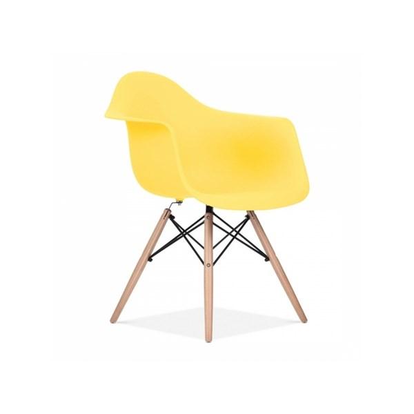 Cadeira Charles Eames Eiffel Com Braços e Base em Madeira - Assento em Polipropileno Cor Amarela