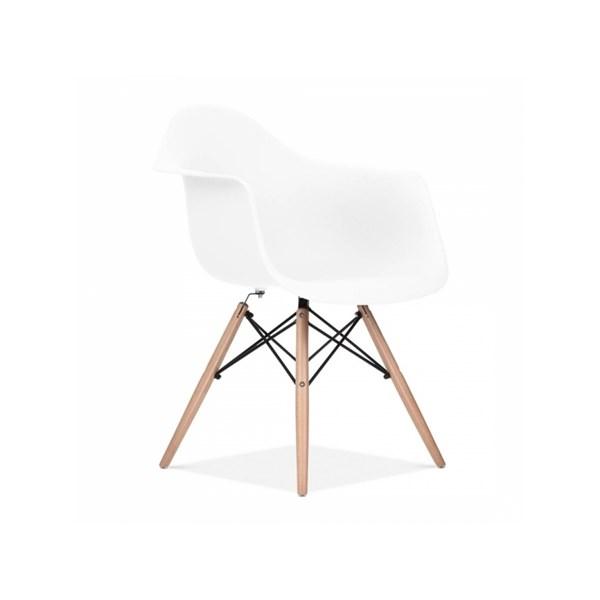 Cadeira Charles Eames Eiffel Com Braços e Base em Madeira - Assento em Polipropileno Cor Branca