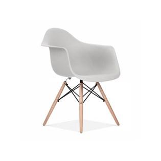 Cadeira Charles Eames Eiffel Com Braços e Base em Madeira - Assento em Polipropileno Cor Cinza Claro
