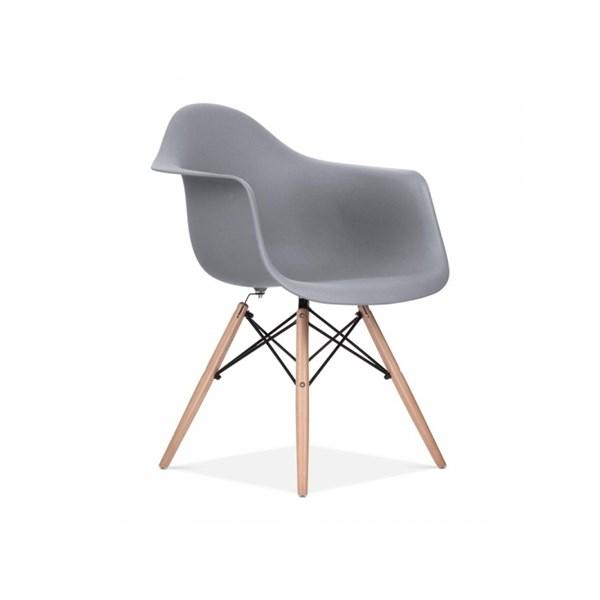 Cadeira Charles Eames Eiffel Com Braços e Base em Madeira - Assento em Polipropileno Cor Cinza Escuro