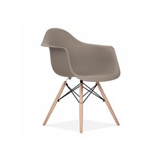 Cadeira Charles Eames Eiffel Com Braços e Base em Madeira - Assento em Polipropileno Cor Cinza Quente